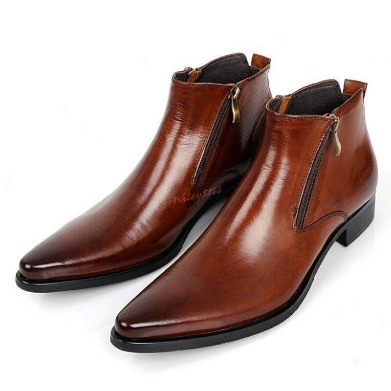 British Style Mens Pointed Toe Zip Leather Formal Dress shoes High Top Ankle Boot