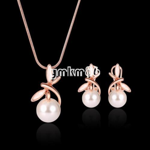 Fashion Femmes Perle Or Rose Bijoux Set Pendentif Chaîne Collier Boucles d/'oreilles cadeau