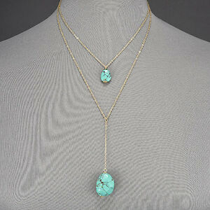 Gold-Thin-Chain-Double-Layered-Turquoise-Stone-Pendant-Bohemian-Style-Necklace