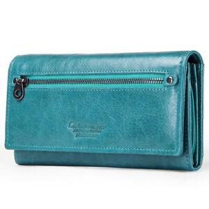 Genuine-Leather-Wallets-For-Women-039-s-Ladies-Wallet-Clutch-Accordion-RFID-Blocking