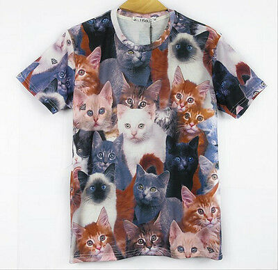 Stylish Unisex Crewneck 3D Cat Printed Short Sleeve T-Shirts Casual Blouse Tops
