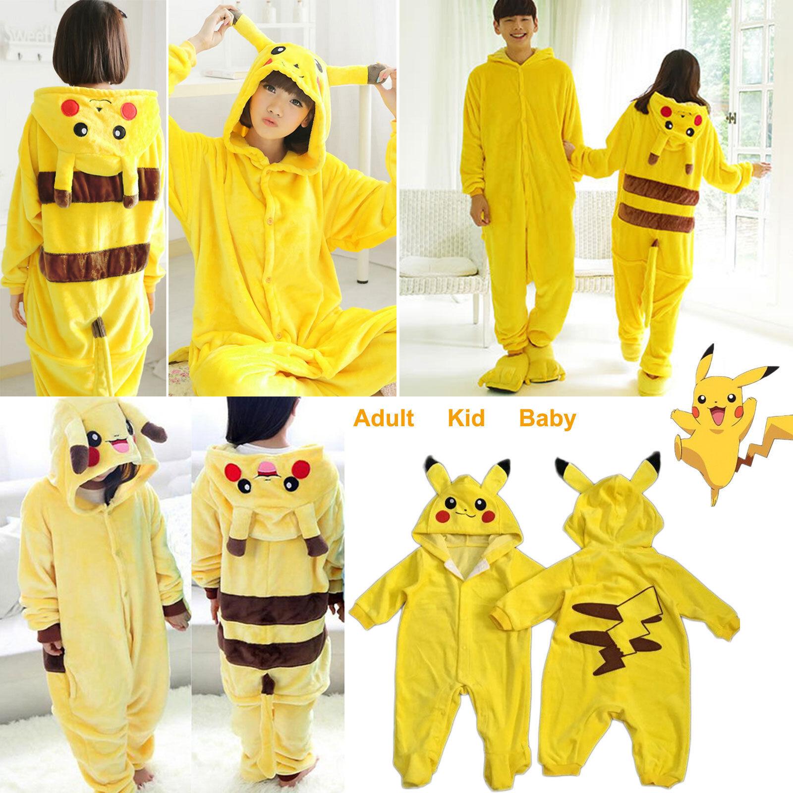 Lovely Pokemon Pikachu Kigurumi Pajamas Cosplay Costume Onesis Sleepwear For Adult Kid Baby