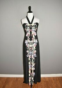 SOMA-89-Black-Floral-Print-Halter-Maxi-Dress-XS