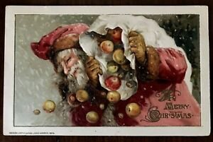 WINSCH-SANTA-CLAUS-with-BAG-of-APPLES-Antique-1913-Christmas-Postcard-s587