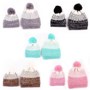 Winter Fashion Warm Novelty Mom+Baby Knitted Pom Bobble Hat Beanie ... ed17fb6b392