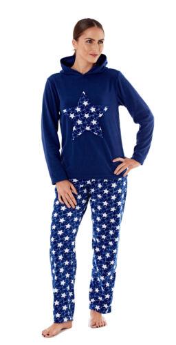 Femmes Imprimé Étoile en polaire à capuche Pyjama Set