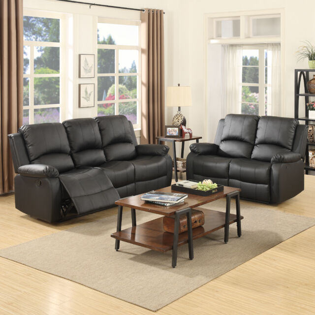 3+2 Seater Sofa Set Loveseat Couch Recliner Leather Living Room Furniture  Black