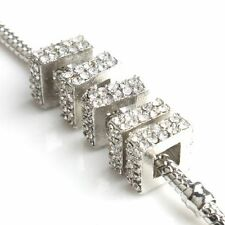 10x Rhodium Plated Rhinestone Square European Charms Beads Fit Chain Bracelets D