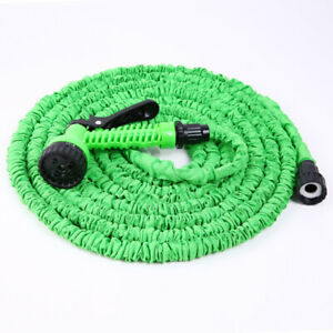 NEW-SALE-Green-Latex-Expanding-Flexible-Garden-Water-Hose-with-Spray-Nozzle