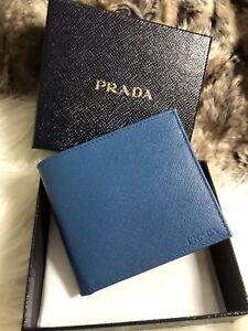 362e486fd94d NWT AUTHENTIC Prada Mens Bifold Wallet Cobalto Blue Saffiano Leather ...