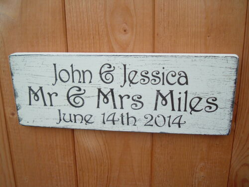 Mariage Mr /& Mrs Signes personnalisée nom et date Shabby Vintage Chic Plaque