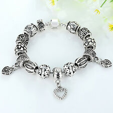 European Silver Plated Charm Bracelet With Silver Accessory Fit Women Gifts 18cm