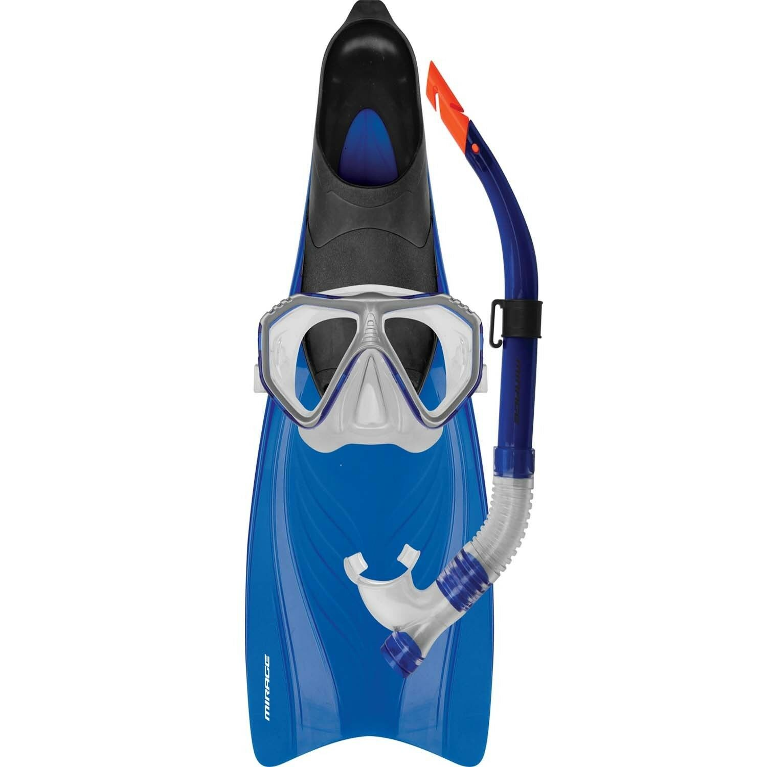 Mirage Bahamas ADULT Snorkel Set Includes Flipper Snorkel Mask blueE M L