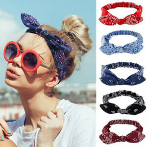 Womens-Print-Headband-Rabbit-Ears-Knotted-Elastic-Hairband-Cross-Turban-Headwrap