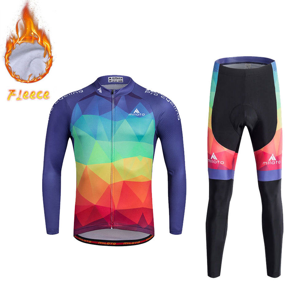 colorful Men's Winter  Bike Clothing Thermal Fleece Cycling Jersey and Pants Kit  online retailers
