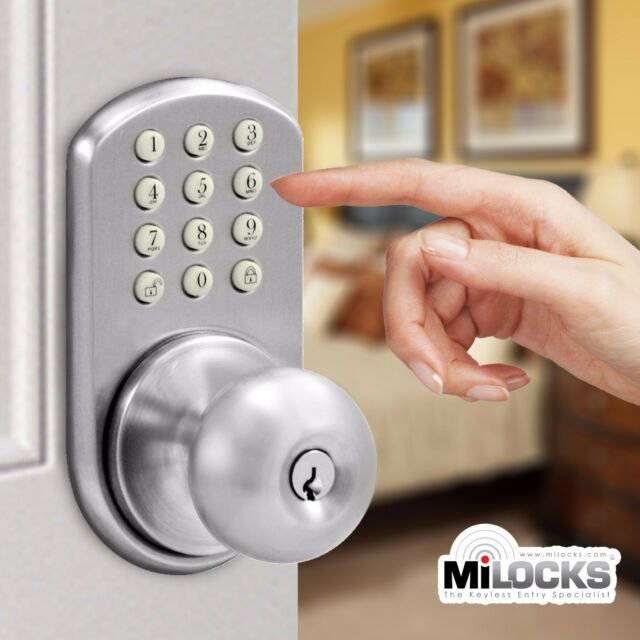 Milocks Tkk 02sn Digital Door Knob Lock With Electronic Keypad For