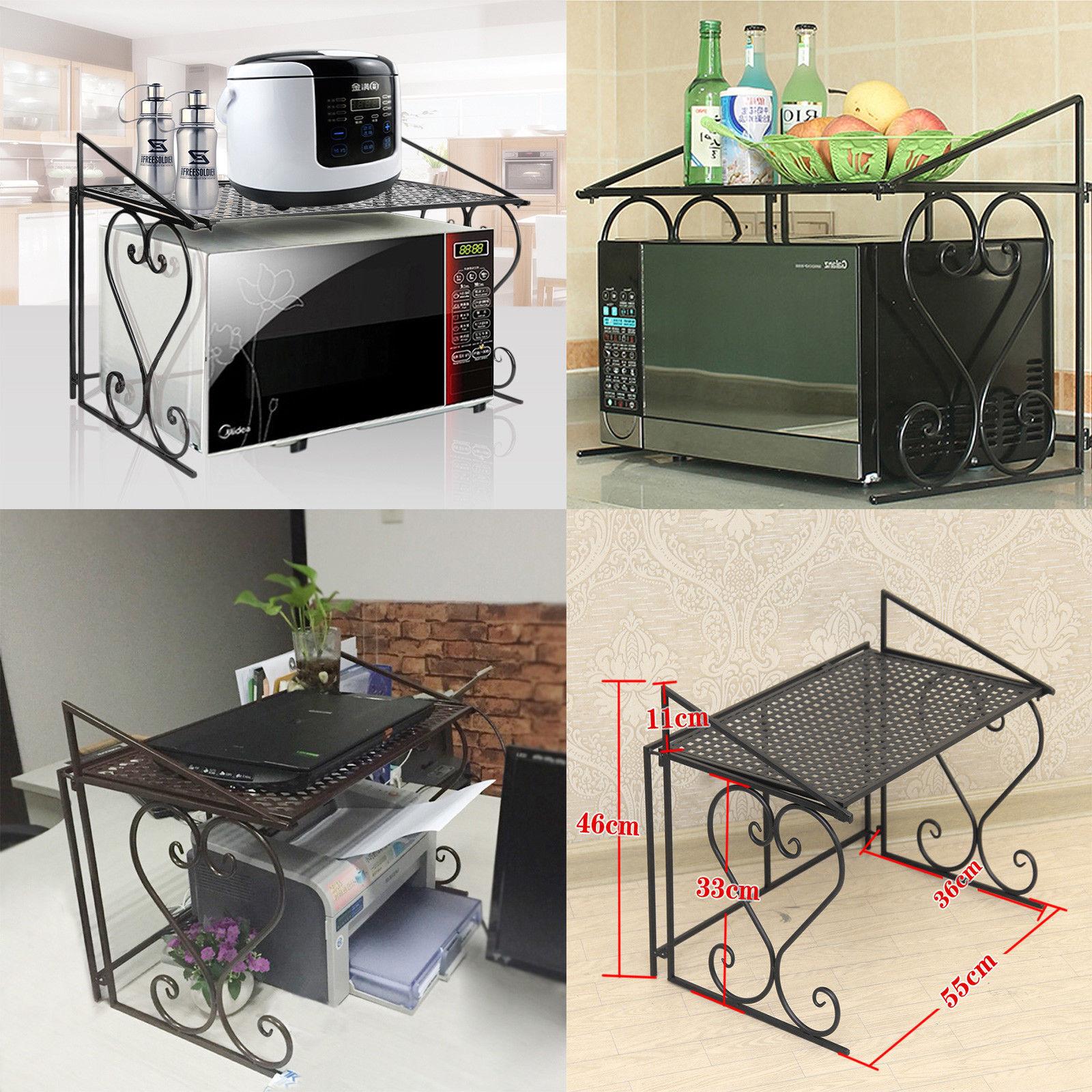 Microwave Oven Rack Kitchen Organizer Counter Cabinet Storage Metal Season Shelf