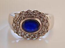 Large 2.01 tcw Ceylon Sapphire & Diamond Halo Engagement Ring 14K G/I1 Stunning