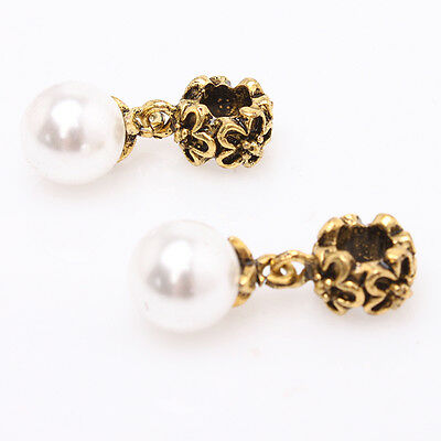 10x Retro Antique Gold Pearl Flower Carved European Charms Dangle Bead Fit DIY J