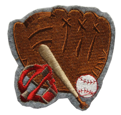 "3-1//4/"" Embroidery Iron On Baseball Glove\Cap\Bat\Ball Applique Patch"