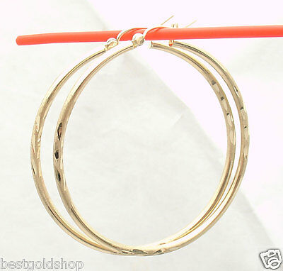 "2mm X 45mm 1 3//4/"" Diamond Cut Round Hoop Earrings REAL 10K Yellow White Gold"