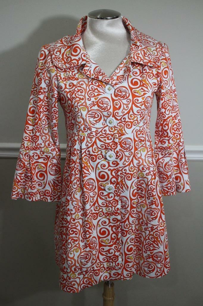 Skirtin Around Women's orange and White Geometric trench coat  Size 2 (ja200