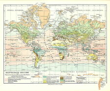 Alte historische Landkarte 1910: Hauptklimakarte der Erde. Klima Welt (Mkl7)