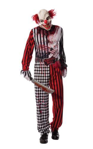Mens Evil Killer Clown Costume Halloween Horror Circus Fancy Dress Outfit