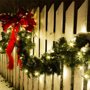 9FT Christmas Garland with LED Lights Door Wreath Xmas Pine Fireplace Decor