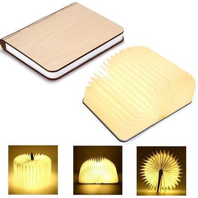 GEEDIAR Faltbar Buchlampe LED Nachtlicht USB Holzlampe Nachttischlampe Buchlicht