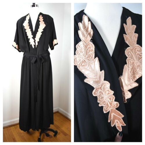 30s 40s VTG ~ XL Tall ~ Glamour Wrap Dressing Gown