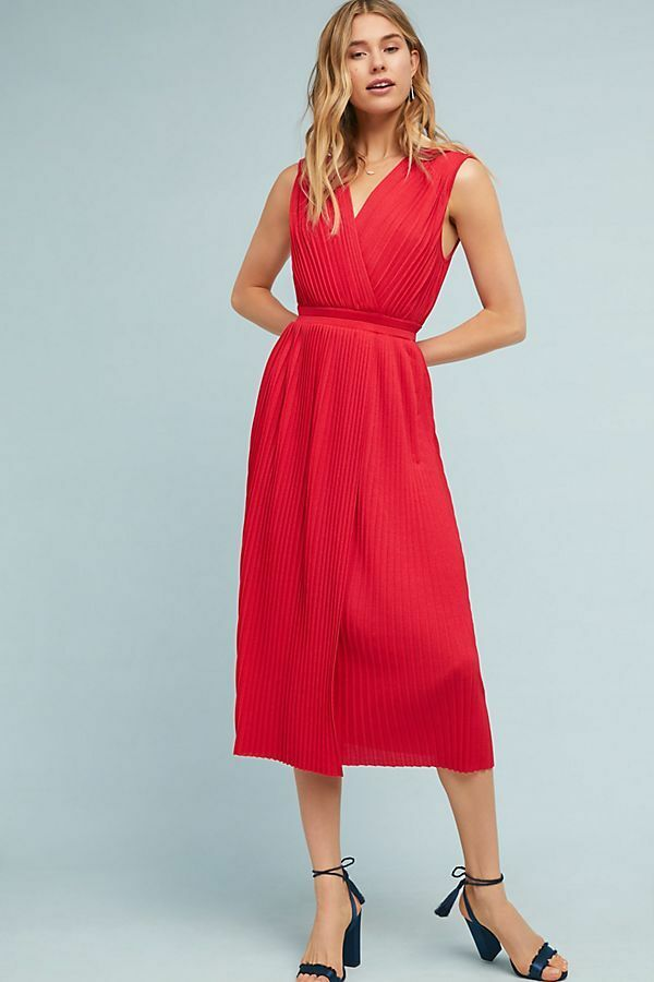 198 Anthropologie Tracy Reese Pleated Midi Dress NWT new size S