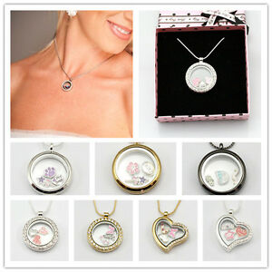 Living memory locket pendants necklaces for floating charms with box image is loading living memory locket pendants necklaces for floating charms aloadofball Image collections