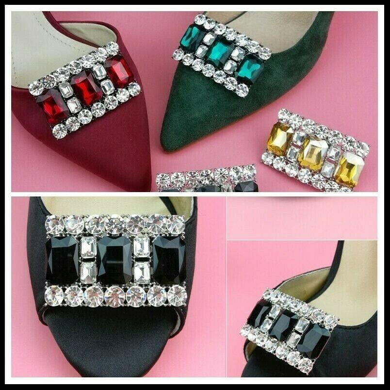 Women Shoes Accessory Clip Crystal Rhinestone High Heel Decor Charms Wedding 2pc