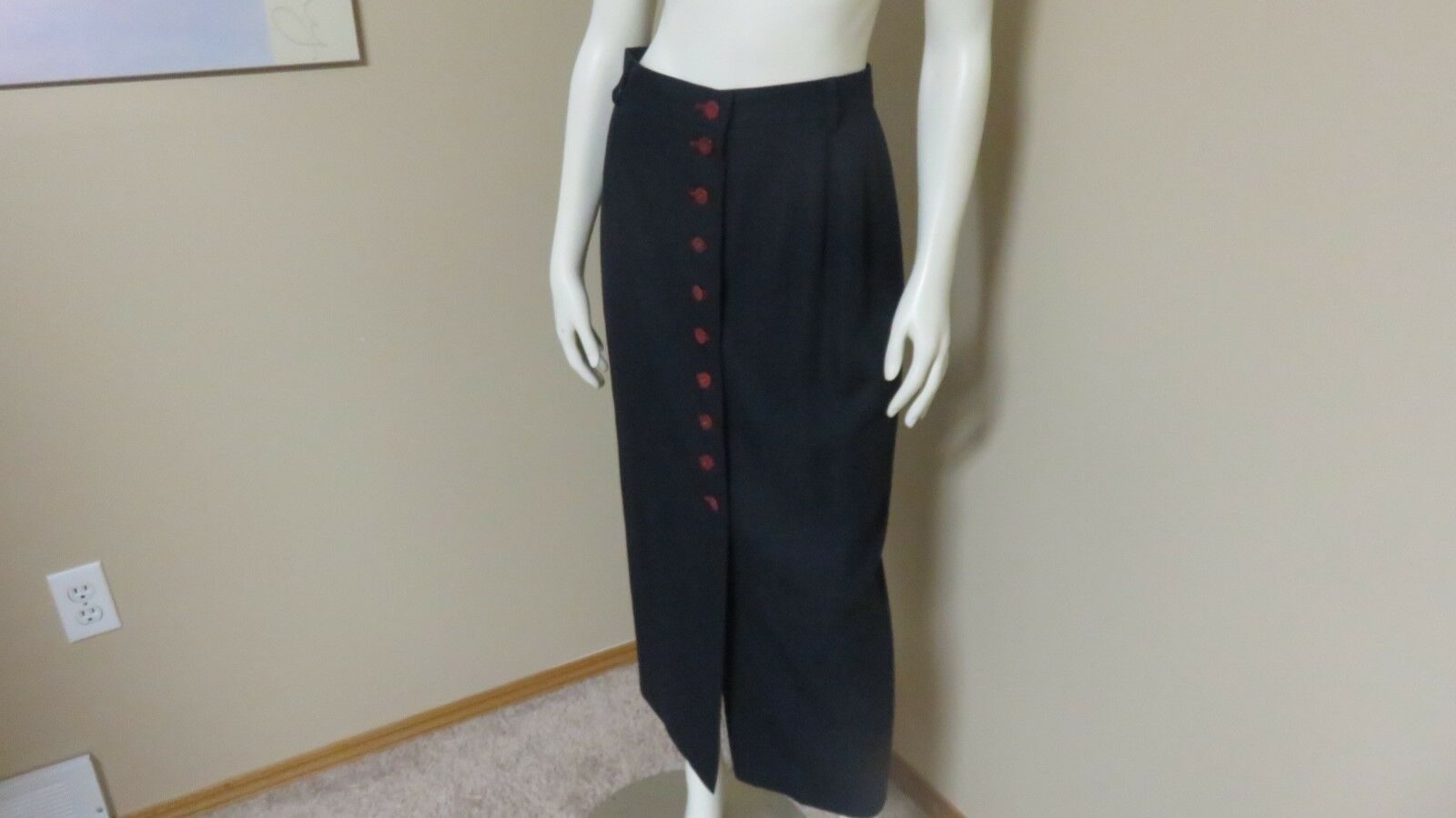 Mondi Fashion Business Long Skirt Maxi Red Button Front Women's Navy US 8