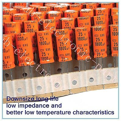 1000uf 25v NCC Radial Electrolytic Capacitor 25v1000uf 125℃ Long life 20pcs