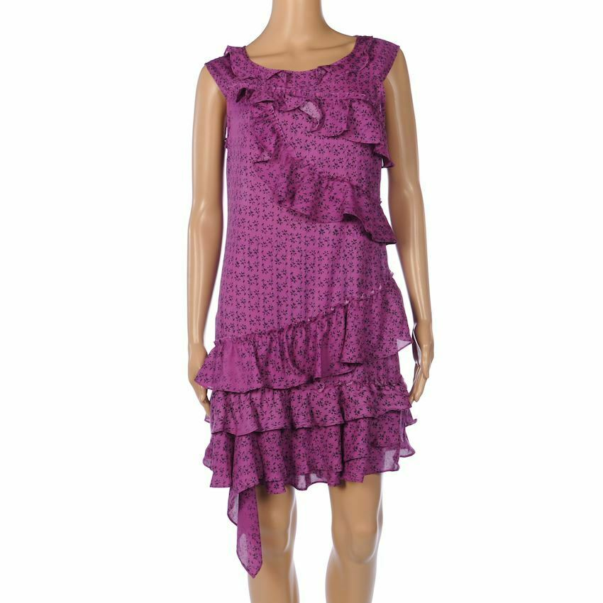 Dkny Kleid lilat Lila Ärmellos Rüsche Stufen Größe 4  UK 8 Fx