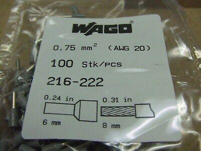 216-202 100PK Wago 20 AWG Gray Ferrules