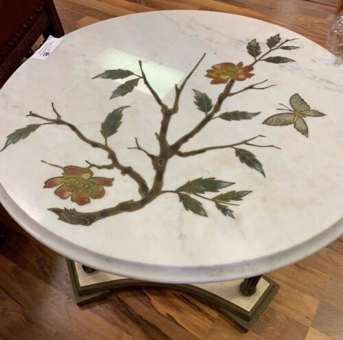 Vintage Carrera Marble Etched Side Italian Table w