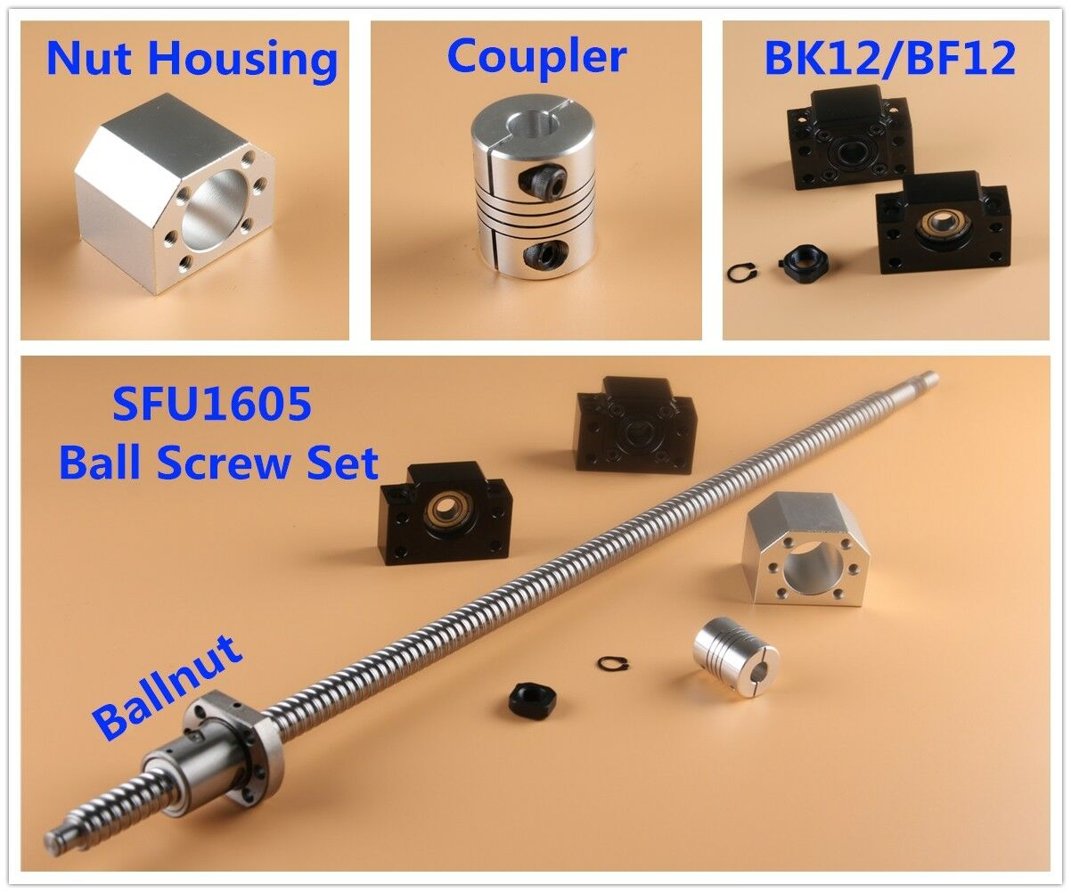 SFU1605 Rolled BallScrew Kit L150-2000mm /& Ballnut Housing /& Coupler /& BK//BF12