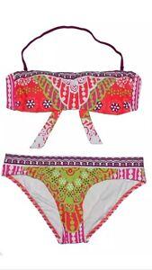 $164 Trina Turk Provence Paisley Bandeau Top /& Sash Bottom Swimsuit Bikini Set