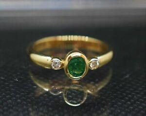 1-50Ct-Oval-Cut-Emerald-amp-Diamond-Bezel-Set-14K-Yellow-Gold-Over-Ladies-Ring