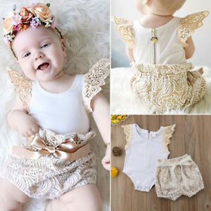 Newborn Kids Baby Girls Floral Romper Top +Lace Shorts Pants Outfits Clothes Set