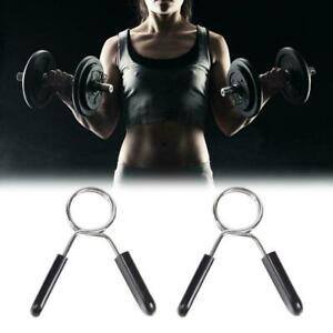 2-STUCKE-Hantelstangenklemmen-Clips-Hantelstange-Kragen-Federschloes-Gewicht-I5Z3