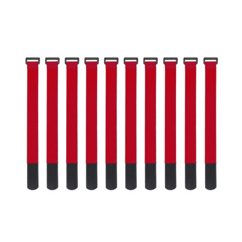 10x Red Self Adhesive Hook Loop Cable Ties Fastener Strap Cord Organizer 30cm