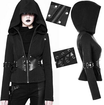 Veste Capuche Hoodie Sweat Gothique Cyber Punk Lolita Corset Laçages Punkrave