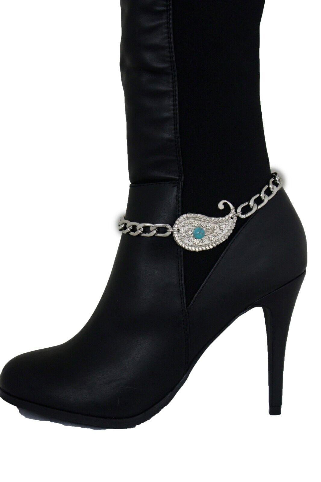 Fun Women Boot Chain Bracelet Shoe Silver Metal Paisley Charm Water Drop Jewelry