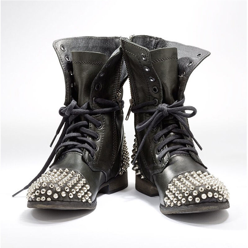 Womens Lace Up Punk Studs Motorcycle shoes Rivet Flat Leather Zipper Ankle Boots