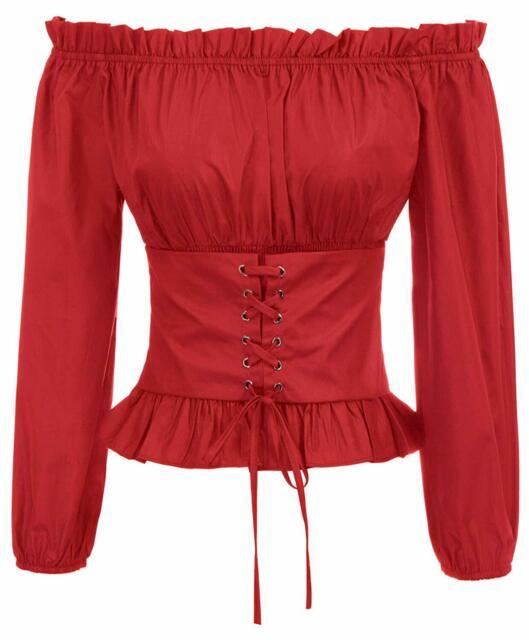SCARLET DARKNESS Womens Renaissance Boho Peasant Long Sleeve Off The Shoulder Top