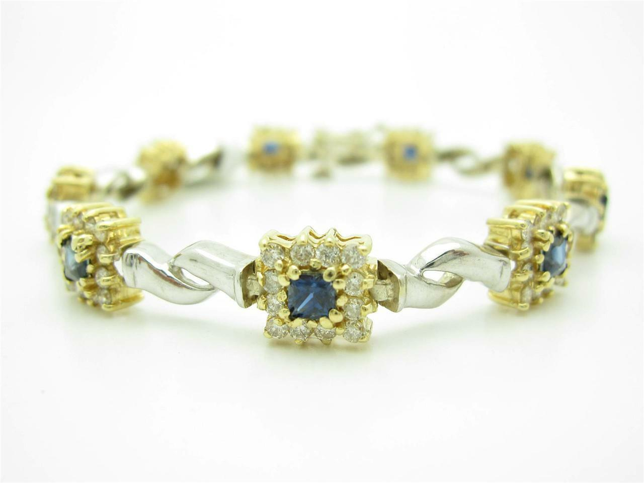 14KT SOLID TWO TONE gold GENUINE DIAMONDS & blueE SAPPHIRE TENNIS STONE BRACELET